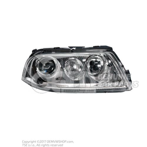 Halogen twin headlights for gas discharge bulb