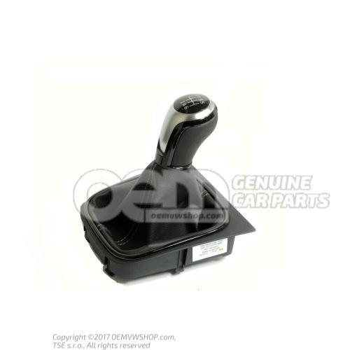 Gearstick knob (alu) with gearstick trim (leather) black Volkswagen Golf 5K 5K0711113K YMD