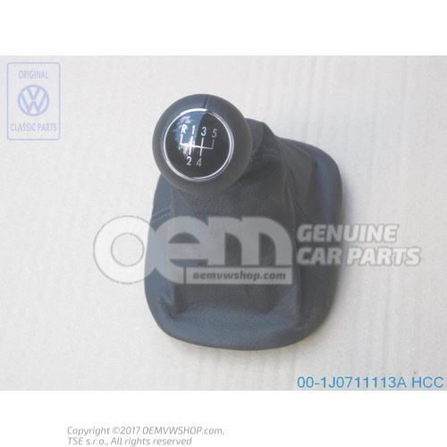 Gearstick knob with boot for gearstick lever (leather) black/orbitblue 1J0711113A HCC