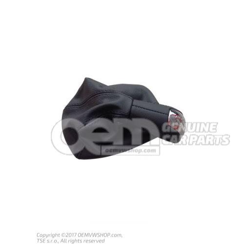 Pommeau levier vitesses avec gaine prot. p. levier (cuir) noir 6Y0711113AC34E