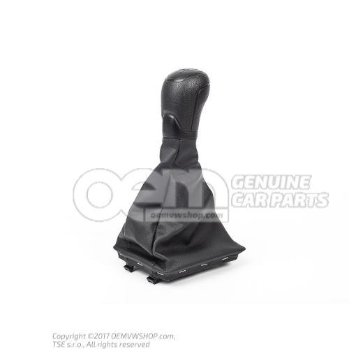 Gearstick knob with boot for gearstick lever (leatherette) satin black Skoda Octavia 5E 5E1711113 SHD