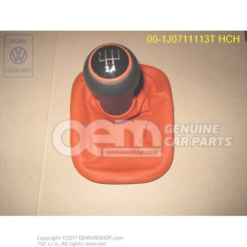 Gearstick knob with boot for gearstick lever (leather) tropical orange 1J0711113T HCH