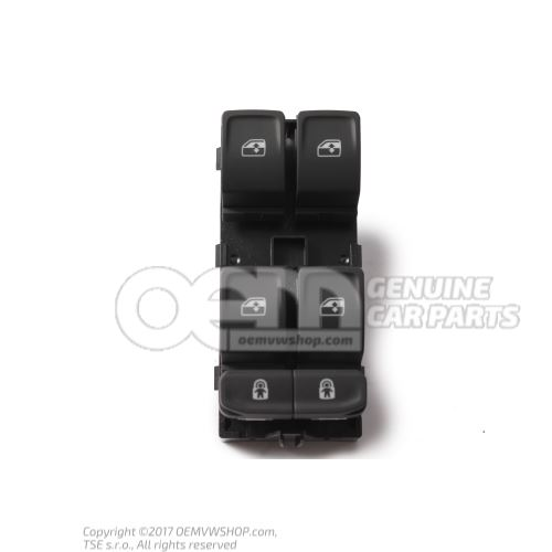 Switch for electric window regulator satin black/white front and rear 3G0959857B WHS