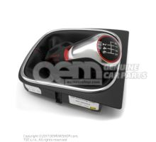 Gearstick knob (alu) with gearstick trim (leather) black/aluminium 5K0711113G XPR