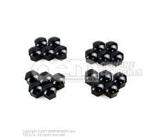 1 set of cover caps for wheel studs satin black