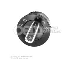 Multiple switch for side lights, headlights, front and rear fog lights combi-switch for automa- tic driving light, side lights and driving lights, rear fog light and coming home black/chrome 3C8941431C XSH