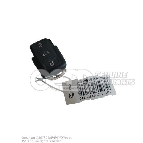 Sender unit with LED function display for radio controlled central locking (rectangular key pad) 1J0959753DA