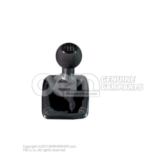 Gearstick knob (leather) with gearstick trim (leather) soul (black)/silver Audi A4/S4/Avant/Quattro 8E 8E0863278DHVDU