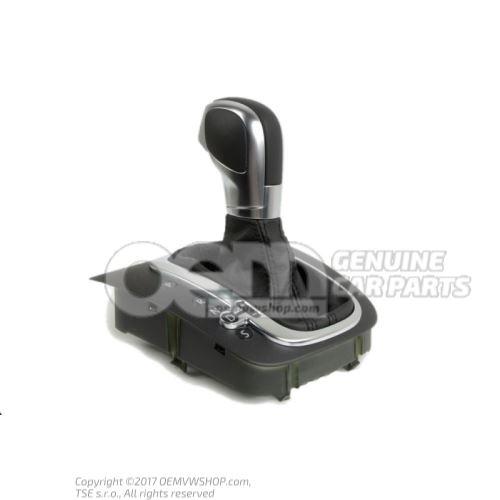 Cache de commande des vitesses bouton-poussoir noir/noir conduite à gauche cuir / aluminium av cuir 5K1713203E UZD