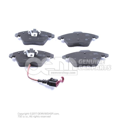1 set: brake pads with wear indicator for disc brake 1 set of brake pads for disk brake 5K0698151