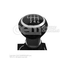 Pomo palanca cambio (cuero) c. guardapolvo (cuero art.) negro/aluminio Volkswagen Golf 1K 1K0711113CMXPR