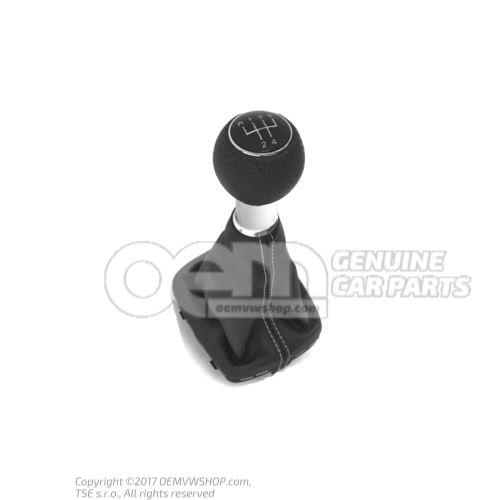 Gearstick knob (leather) with gearstick trim (leather) soul (black)/silver 8P0863278CFYVS