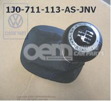 Gearstick knob with boot for gearstick lever (leather) black/blue 1J0711113ASJNV