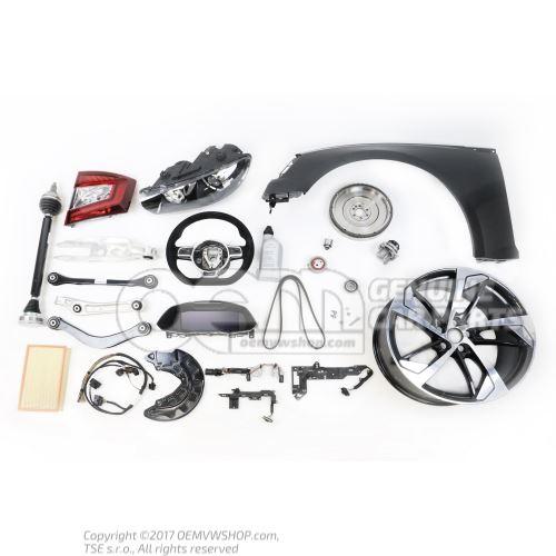Gearstick knob (leather) black/ona silver 5P0711113T TLJ