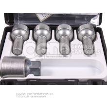 Set of wheel bolts lockable