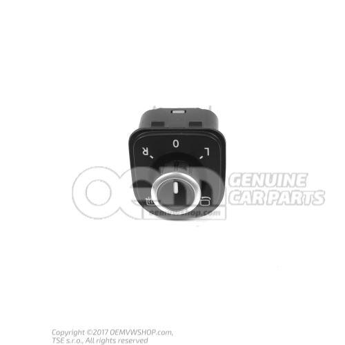 Interrupteur pour retroviseur exterieur a reglage electrique pièce de raccord noir/chrome 5K0959565  XSH