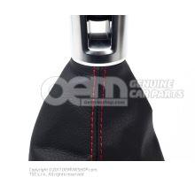 Pommeau levier vitesses (cuir) noir/alu standard/rouge 5G1711113D CBR