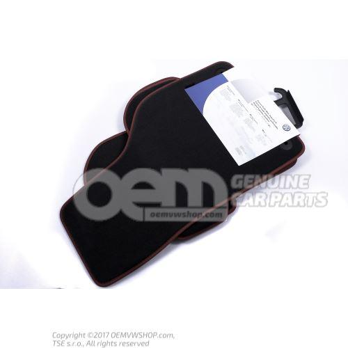 1 set foot mats black/red
