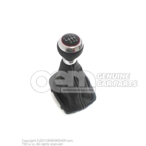 Gearstick knob (leather) with gearstick trim (leather) soul (black)/silver 8P0863278CCSZN
