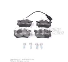 1 set: brake pads with wear indicator for disc brake 7M3698451E