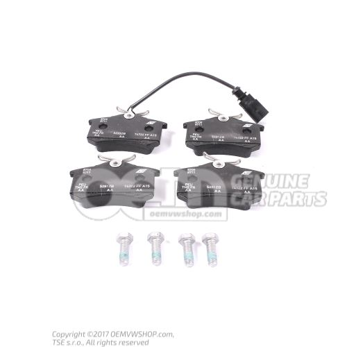 1 set: brake pads with wear indicator for disc brake shorten if necessary 7M3698451E