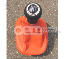 Gearstick knob with boot for gearstick lever (leather) tropical orange 1J0711113AM3SH